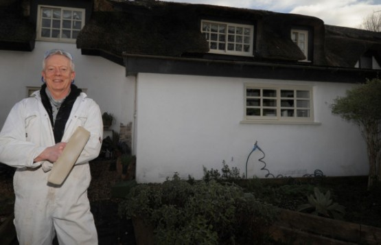 Master plasterer Lee Richards outside the 350 year-old cottage on Fishers Lane in Marton, which he restored using techniques that the original builders would have employed.  PIC BY ROB LOCK 21-3-2014