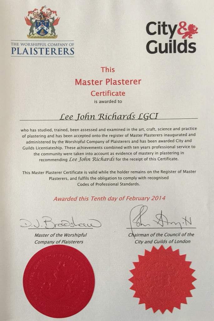The Master Plasterer Award Certificate